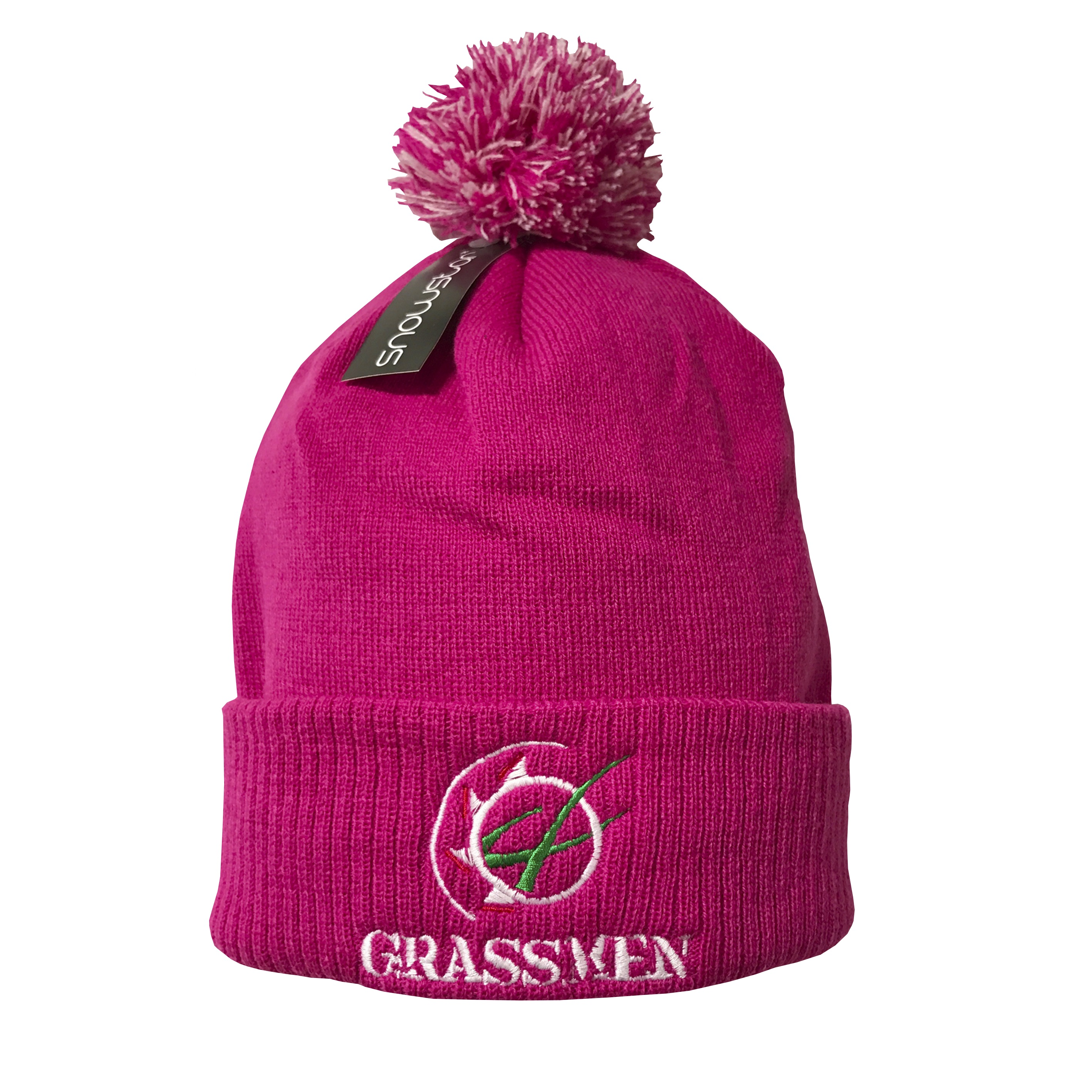 86a33846ee2f2 Double layer knitted bobble hat with two tone pom pom